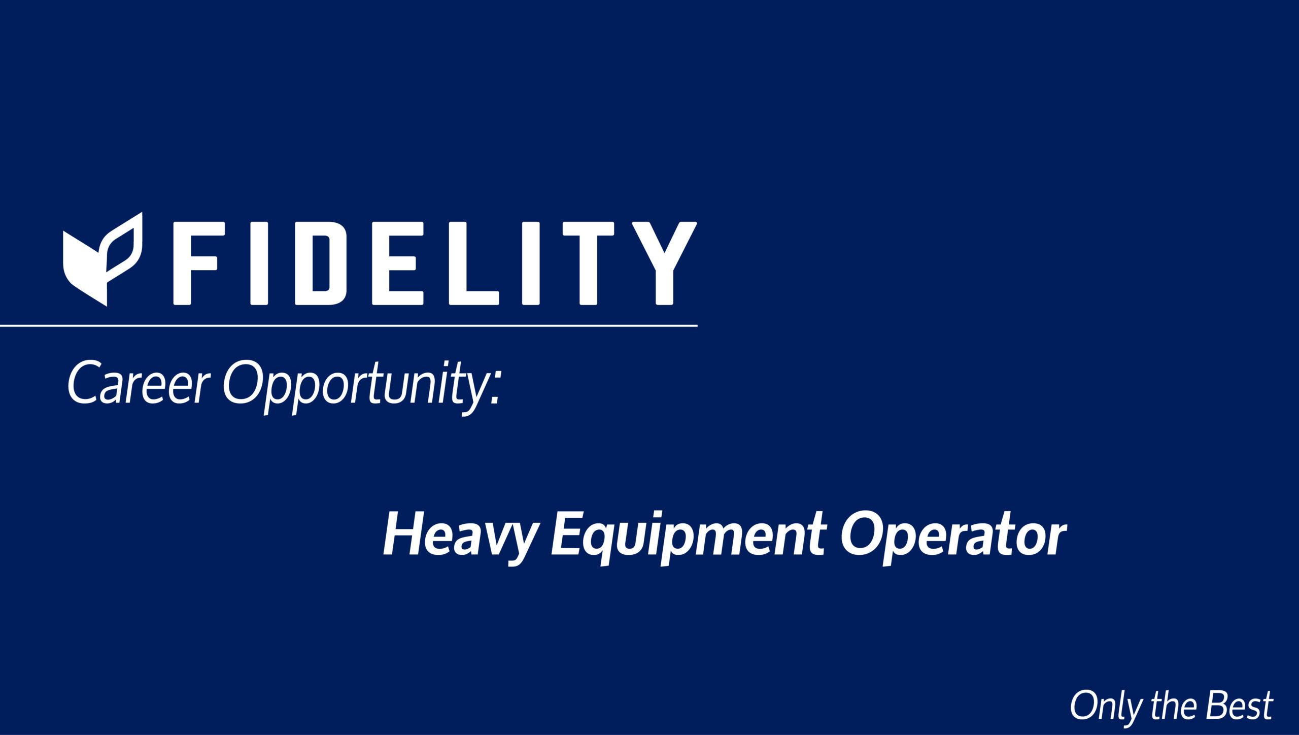 Career Opportunity: Heavy Equipment Operator